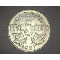 CANADA, 1927 5c (Nickel) AU50 KM29