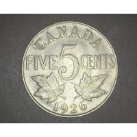 CANADA, 1926 Near 6 5c (Nickel) F12 KM29
