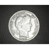 1898 BARBER DIME 10c VG9