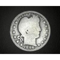 1896 BARBER QUARTER DOLLAR 25c G4