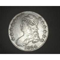 1824 CAPPED BUST HALF DOLLAR 50c EF40