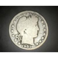 1901 BARBER HALF DOLLAR 50c G/AG