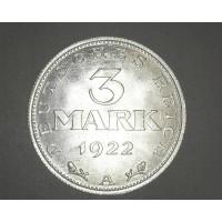 GERMANY, 1922A 3 Mark MS63 KM29