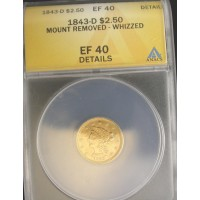 1843-D LIBERTY $2 50 GOLD $2.50 EF40 Details ANACS