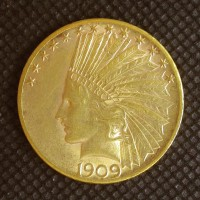1909-S INDIAN $10 GOLD $10 AU58