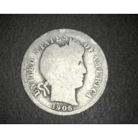 1906 BARBER DIME 10c G/AG
