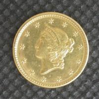 1849 OP Wreath LIBERTY GOLD DOLLAR TY'1 $1 AU58