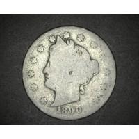 1890 LIBERTY NICKEL 5c (Nickel) AG-G