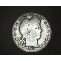 1911-D BARBER QUARTER DOLLAR 25c G4