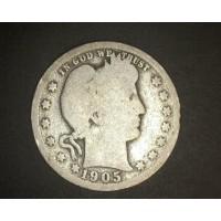 1905 BARBER QUARTER DOLLAR 25c G/AG