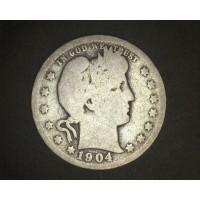 1904-O BARBER QUARTER DOLLAR 25c G/AG