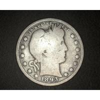 1893-S MM far rt BARBER QUARTER DOLLAR 25c G4