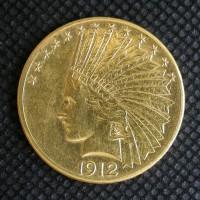 1912-S INDIAN $10 GOLD $10 AU58
